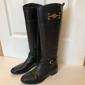 Tori Burch Black Leather Ridding Boots